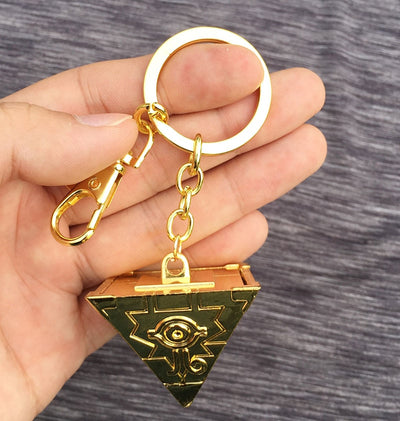 Anime Yu Gi Oh Millenium Puzzle 3d Key Chain Keyrings Gold Metal Pendant