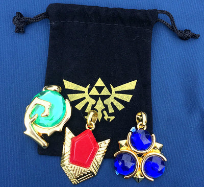 3 pcs of Spiritual Stones Set of Charms Ocarina of Time Keychain Necklace Metal Pendant in storage bag