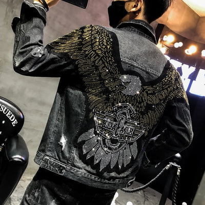 Punk Style Fashion Eagle Embroidered Patch Slim Black  Jean Jacket