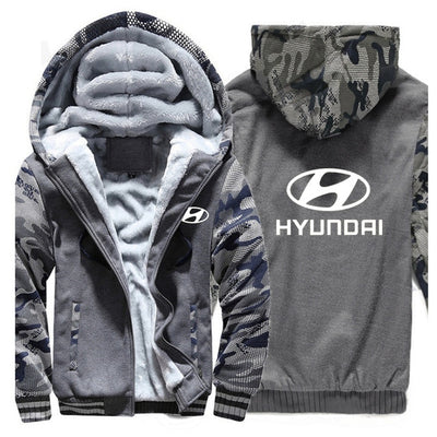 Winter Car Brand Hyundai Logo Fashion White Printed Zipper Hoodies Jacket