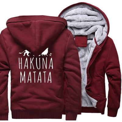 Hip Hop HAKUNA MATATA Printing Pattern Thicken Fleece Zipper Hoodies Jacket