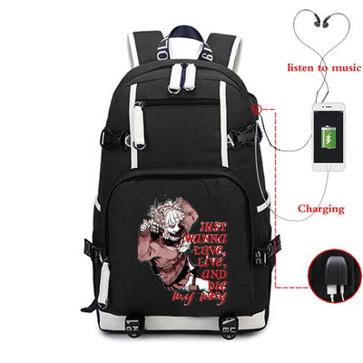 My Hero Academia Printed Black Large Capacity Waterproof Unisex Casual School Backpack