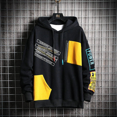 Winter Patchwork Hip Hop Japanese Streetwear Harajuku Black Sweatshirt Hoodie