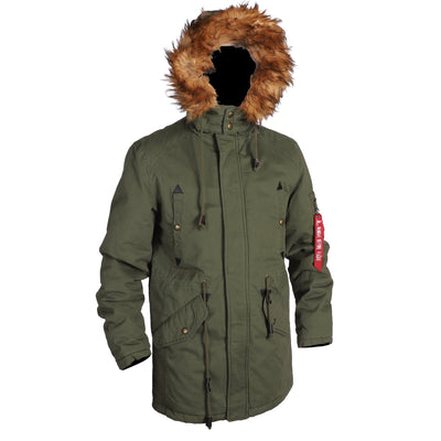 Military Air Force N3b Style Detachable Fur Hooded Mens Long Parka Jacket