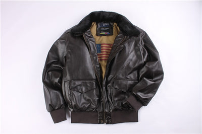 flight us air force pilot A2 winter padded vintage letterman leather jacket