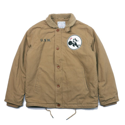 N1 US NAVY Thick Winter Mens Sherpa Fleece Deck Jacket with VF-3 Felix Embroidered Patch