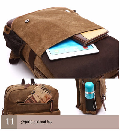 Retro Casual Men Canvas Multi-Function Laptop Backpack