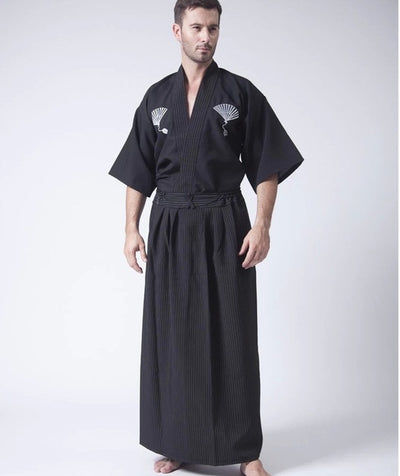 Black Classic Japanese Samurai Clothing Men's Warrior Kimono With Obi Traditional