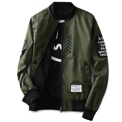 Men Pilot with Patches Green Both Side Bomber Jacket