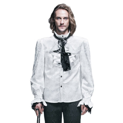 British Style Steampunk Victorian White Blouses With Tie Collar Long Sleeve Dress Shirt