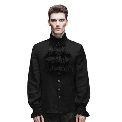 Gothic Steampunk Flounce Tie Black White Men Casual Shirts