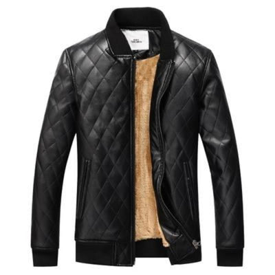 winter men thick velvet PU leather jacket