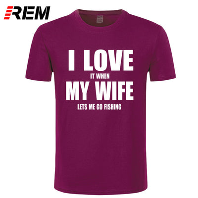 I LOVE MY WIFE FISHINGER Cotton funny shirt for men