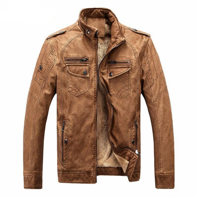 Mens Motorcycle Faux Leather Winter Jacket