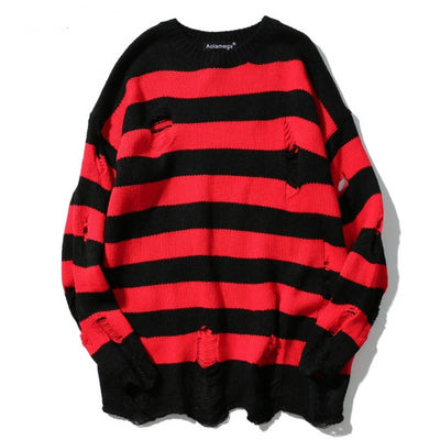 Striped Holes Pullover Fashion Full Sleeve High Street Streetwear Sweatshirts