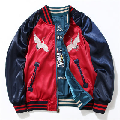 Japan Yokosuka Embroidery Baseball Uniform Both Sides Wear Bomber Jackets