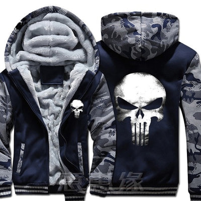 USA SIZE New The Punisher Printed Skull Casual Zipper Hoodies Winter Coats