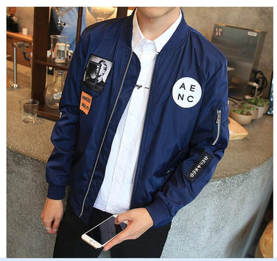Hip Hop Patch Designs Slim Fit Pilot Bomber Jacket