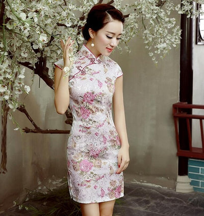 Fashion Short sleeve Short dress Qipao Dress vintage chinese style