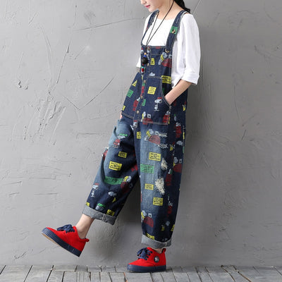 Pattern Painted Ripped Denim Jumpsuits