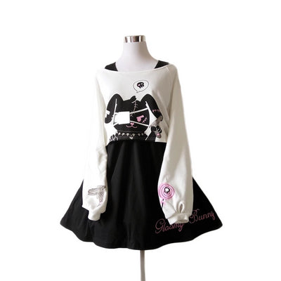 Japanese Lolita Black Comic Rabbit Cute Bunny Print Long Sleeves Dress