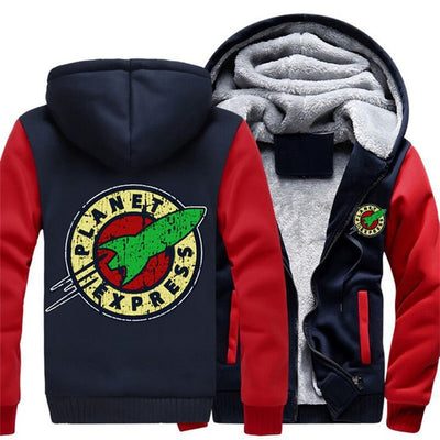 USA Size Adult Men Women Planet Express Thicken Hoodie Zipper Fleece Warm Hooded Jackets