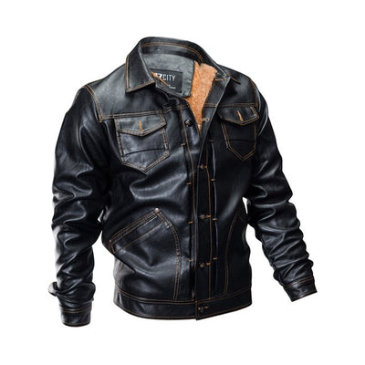 Men Outwear Warm Thick Military Flight Multi-Pocket Pilot Faux Bomber Leather Jacket