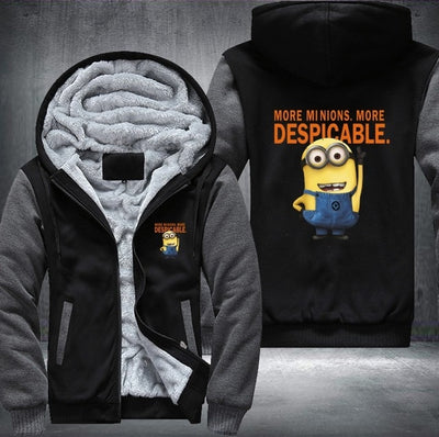 Minion Men's Women's Printing Pattern Thicken Fleece Zipper Hoodies