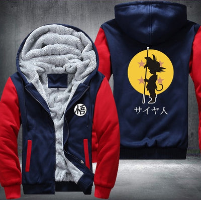 USA Plus EU Size Dragonball Son Goku Sun Wukong Printing Pattern Thicken Fleece Zipper Hoodies