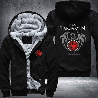 Game Of Thrones House Of Targaryen Graphic Super Warm Thicken Fleece Zip Up Hoodie