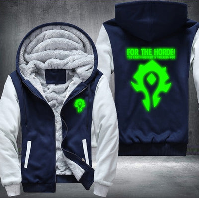 WOW Luminous Blue Green Thicken Coat Winter Fleece Zipper Hoodies Sweatshirts