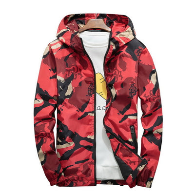 Hooded Windbreaker Large Size Men's Jacket
