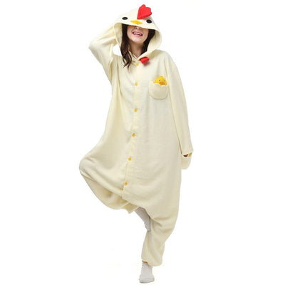 White Chicken Fleece Onesie Homewear Hoodie Pajamas Sleepwear Robe For Adults