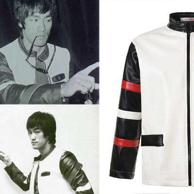 Chinese Kung fu Idols Bruce Lee Jacket Men Casual Faux Leather Anniversary  Edition