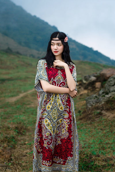 Thailand exotic style stamp Flower vacation long Dress