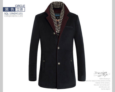 Winter Men Splice Woolen Jacket