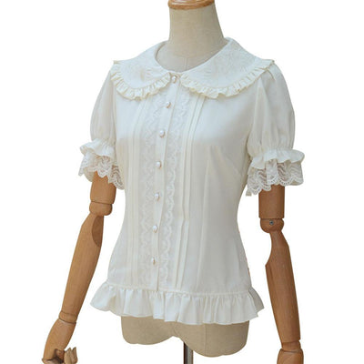 Short Puff Sleeve Flower Embroidered Peter Pan Collar White Ruffle Blouse for Ladies