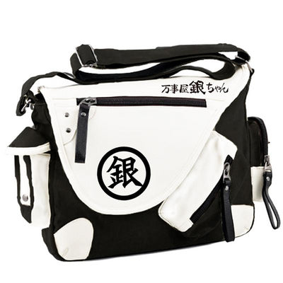 Silver Soul Gintama Cartoon Large Capacity PU Canvas Messenger Bag