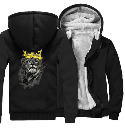 Animal King Of Lion Printing Pattern Thicken Fleece Zipper Hoodies Jacket