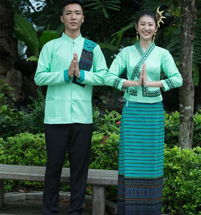 Thailand Dai princess Robe dress men's and women's long sleeved Hotel restaurant work clothes