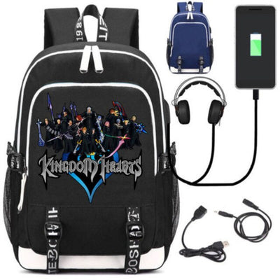 Game Kingdom Hearts Sora School USB Charge Interface Backpack