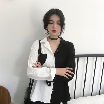 Korean Chic Style Black White Contrast Color Long Sleeve Vintage Shirts