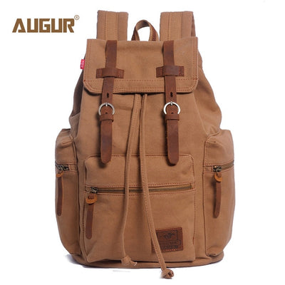 vintage canvas large capacity travel laptop backpack