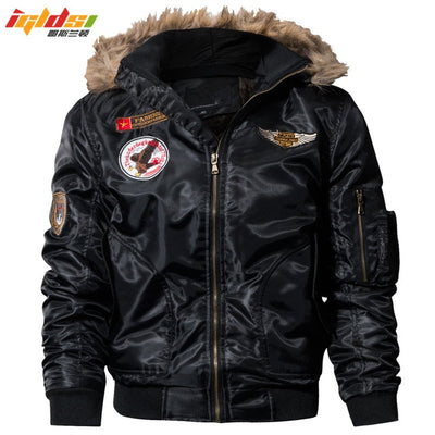 Men's Bomber Pilot Winter Parkas Army Military Motorcycle Jacket