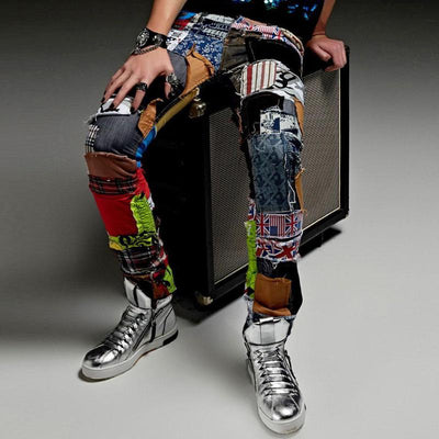 fashion casual Hole patch jeans male beggar pants