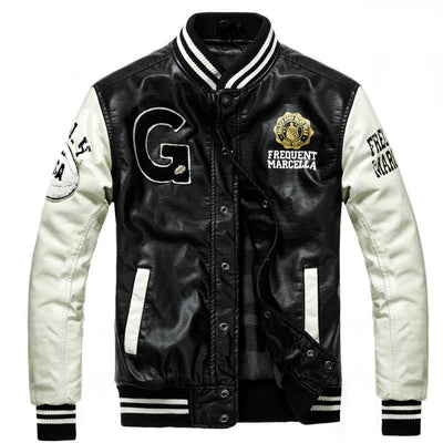 College Jaqueta Couro Men's PU Leather Baseball Jacket
