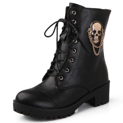 skull street lace up platform women's fashion boots