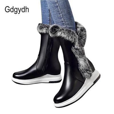 Zipper Black White Thick Plush Round Toe Women Snow Boots