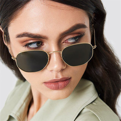 Polygonal Vintage UV400 Women Sunglasses