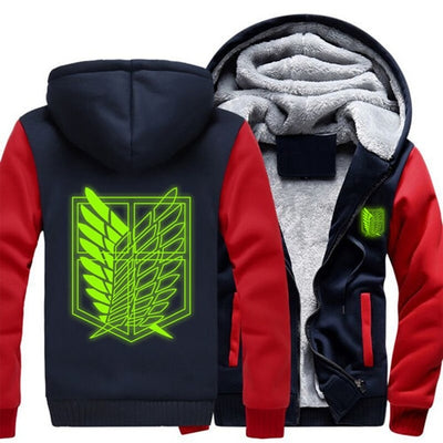 USA Size Shingeki No Kyojin Attack on Titan Aren Luminous Thicken Fleece jacket